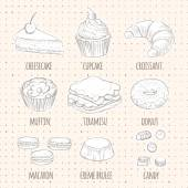 Vector sweet dessert icons in sketch style Food sign Set of confectionery Includes cheesecake cupcake croissant muffin tiramisu donut macaron creme brulee chocolates candy