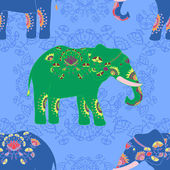 Indian elephant with beautiful pattern