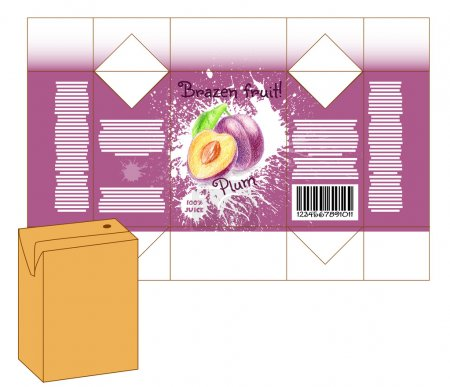 Design of small juice or milk shake box. Fruit dra...
