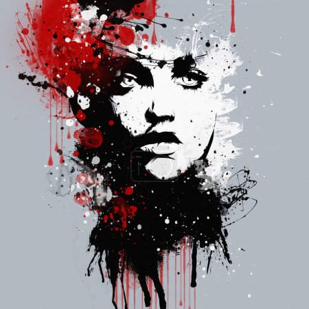 Photo pour Mode femmes visage. Impression abstraite pour T-shirt - image libre de droit