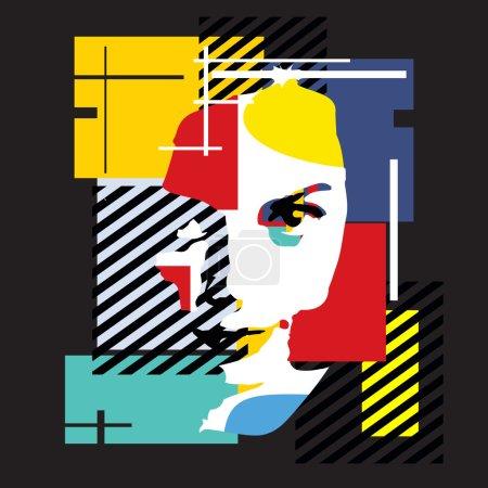 Illustration pour Fille Fashion. illustration moderne. cubisme - image libre de droit
