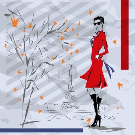 Illustration pour La fille en manteau rouge, automne, Paris - image libre de droit