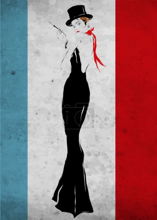 The girl in a black evening dress