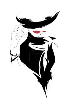 Modern girl, sketch, red lips, white background, h...