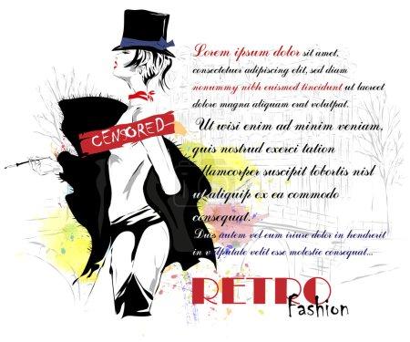 Illustration pour Fille fashion style croquis. illustration vectorielle. - image libre de droit