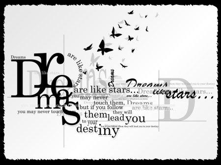 Illustration pour Le texte sur fond gris avec des papillons - image libre de droit