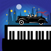 Old new york background piano and car