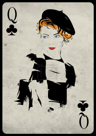 The girl in retro style. Playing card.