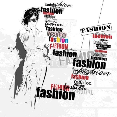 Illustration pour Fille de la mode dans le style croquis. Illustration vectorielle - image libre de droit