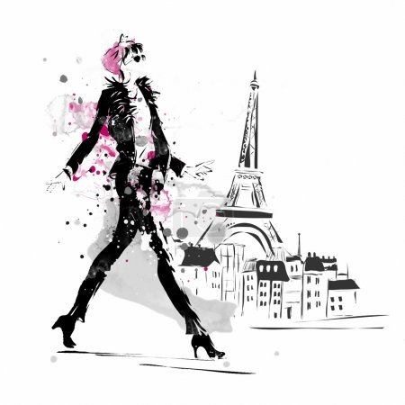 Illustration for Fashion girl in sketch-style. Vector illustration - Royalty Free Image