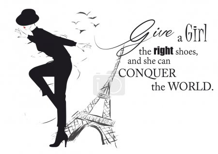 Illustration for Fashion girl in sketch-style with fashionable quote. Vector illustration - Royalty Free Image