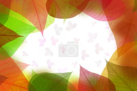 Colorful leaves pattern on white background,gradie...