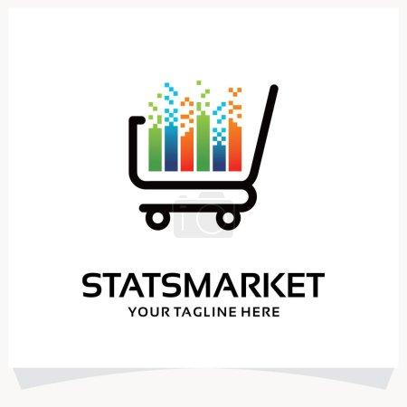 Illustration pour Modèle de conception de logo de marché de statistiques Inspirations avec fond blanc - image libre de droit