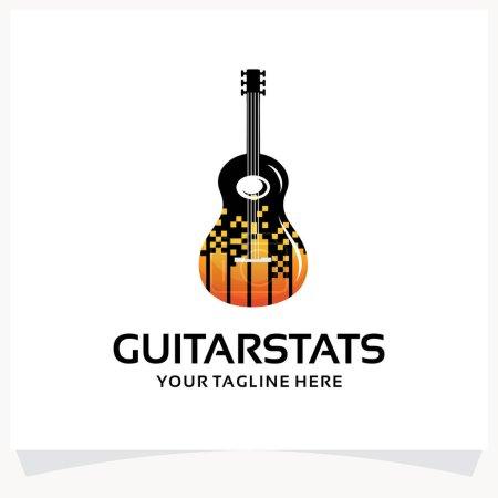 Illustration pour Modèle de conception de logo de statistiques de guitare Inspirations avec fond blanc - image libre de droit