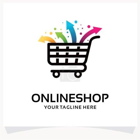 Illustration pour Logo de boutique en ligne. Modèle de conception de logo de marché flèche Inspirations avec fond blanc - image libre de droit