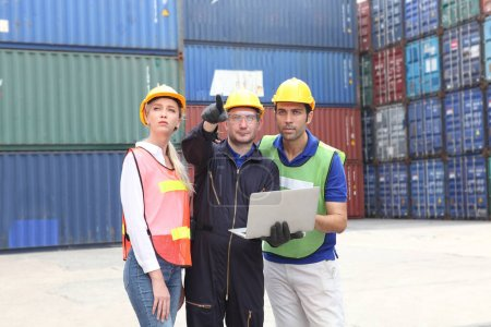Photo for Engineer on site, they are working control logistics or import export industry - Royalty Free Image