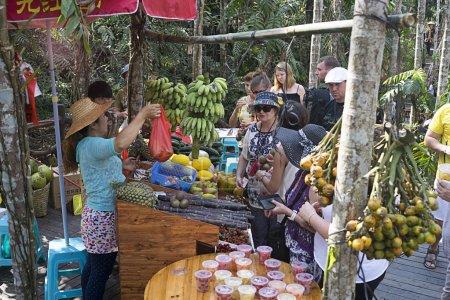 Photo pour La Chine. L'île Hainan. Le marché pour les touristes dans le parc national  . - image libre de droit