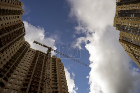 Construction of multi-storey buildings , the view from to  top.