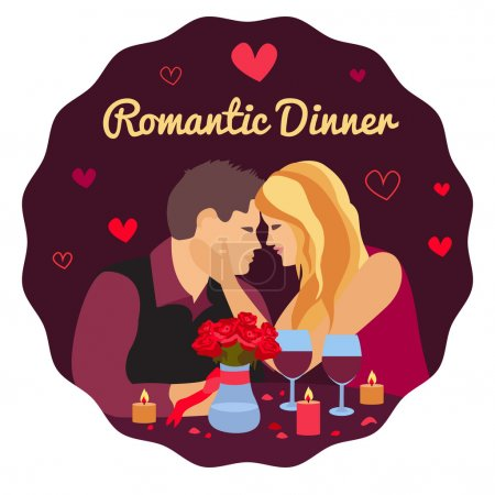 Illustration for Vector illustration of romantic couple in the cafe , romantic dinner, Valentine's Day Card. Dating couple scene, love confession vector illustration - Royalty Free Image