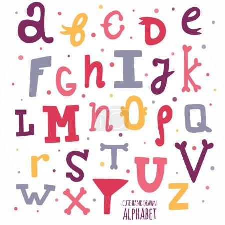 Multicolor hand drawn alphabet.