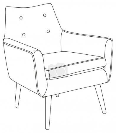 Classic chair outline contour drawing