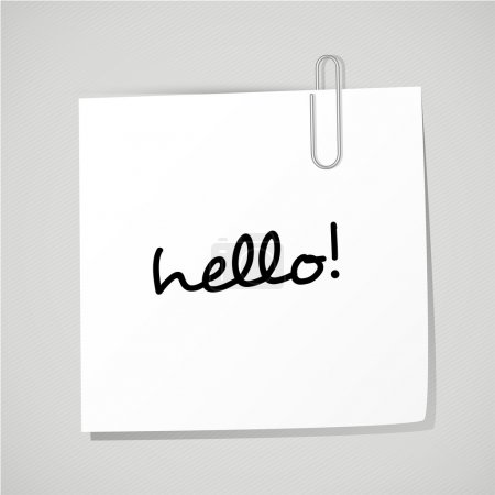 "Paper note with clip and word ""hello!""."