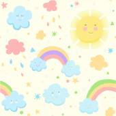 Cute seamless pattern with cloud sun and rainbow