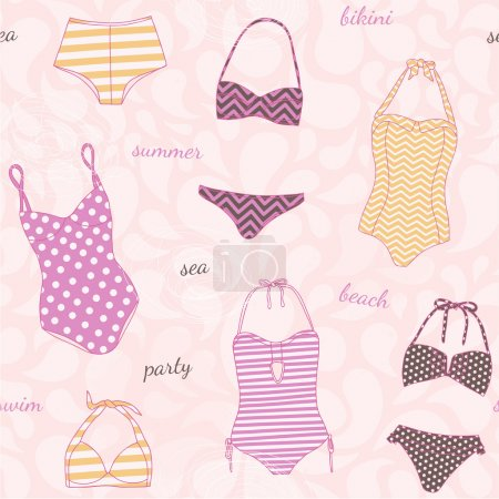 Pattern with swimsuits