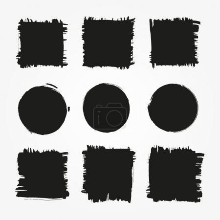 Illustration for Set of grunge vector shapes. Vector abstract banners. Grunge square and circle background for your design - Royalty Free Image
