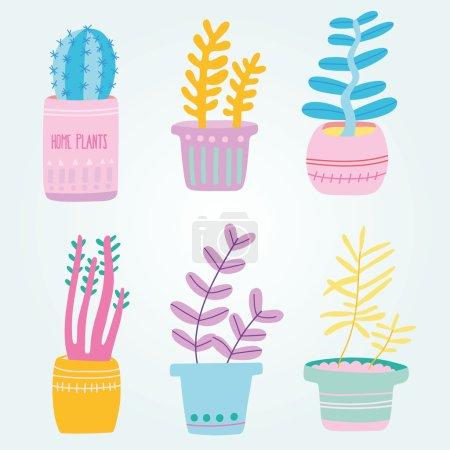 Set of cute house plants in pots