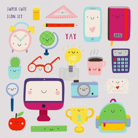 Illustration for Super cute set of Education icons - computer, phone, notebook, coffee, photo camera and other stuff. Hand drawn Smiley characters about study, work and science. Back to school objects collection. - Royalty Free Image