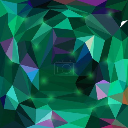 Abstract bright green colored vector triangular geometric background with glaring lights for use in design for card, invitation, poster, banner, placard or billboard cover