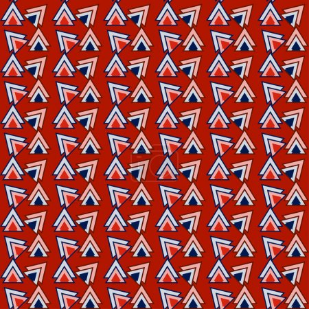 Bright red and blue colored triangles pattern geometric background for use in design