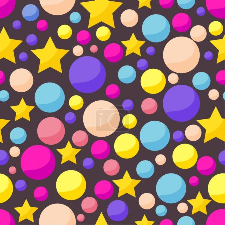 Vector cosmic pattern background with funny drawing bright planets and stars in open space