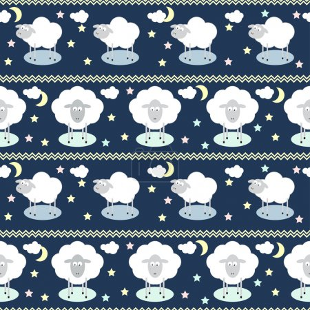 Pattern background with funny cartoon moon, clouds, stars and sheep, the symbol of the new year of the sheep on the deep blue cover