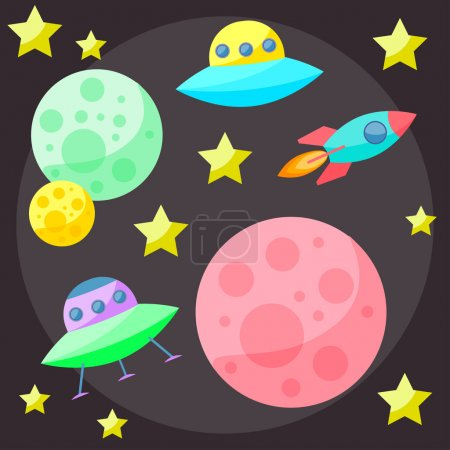 Bright colored vector space cover with colorful planets, stars, ufo and spaceship on dark open spase background