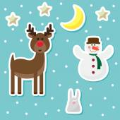 Winter holidays background with funny cartoon deer from sledding Santa Claus drawing snowflakes snowman cute rabbit  and bright  stars on a blue cover