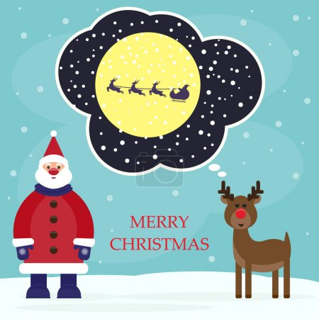Funny cartoon winter holidays background with Santa and amusing deer, hoping to get into the sled sleigh of Santa Claus