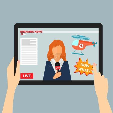 Illustration pour Illustration conceptuelle de couleur vive sur le thème des dernières nouvelles avec les mains tenant une tablette avec la diffusion d'événements actuels à partir d'Internet - image libre de droit