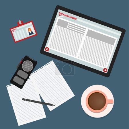 Illustration pour Illustration conceptuelle de couleur vive sur le thème des dernières nouvelles avec ensemble de tablette, café, skip, enregistreur, crayon et morceaux de papier à partir d'un bloc-notes - image libre de droit