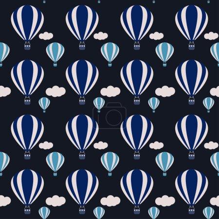 Ilustración de Vector hot air balloons seamless pattern background on dark cover - Imagen libre de derechos