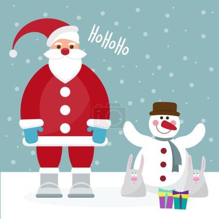 Funny cartoon winter holidays card with Santa, rabbits and cute
