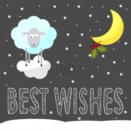 Funny winter holiday background with best wishes and cartoon she