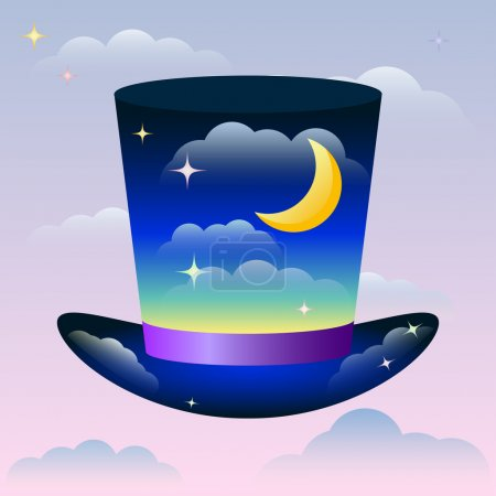 Illustration with bright magic hat floating in the sunset sky among the clouds for use in design for card, invitation, poster, banner, placard or billboard cover