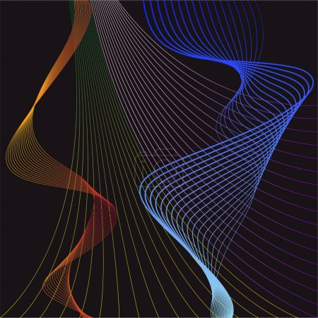 Illustration with smooth flexible curved gradient colored lines set isolated on dark bacground for use in design