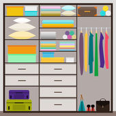 Simple graphic illustration in trrendy flat style with sliding-door wardrobe for use in design