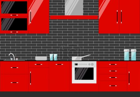 Bright illustration in trendy flat style with red kitchen interior on dark cover for use in design