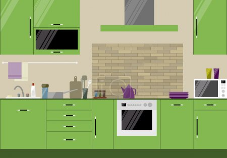 Bright illustration in trendy flat style with green kitchen interior for use in design