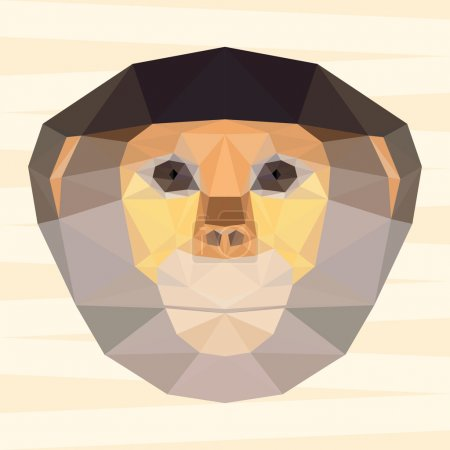 Abstract polygonal geometric red-shanked douc langur portrait for use in design for card, invitation, poster, banner, placard or billboard background