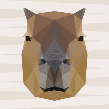 Abstract polygonal geometric capybara portrait for use in design for card, invitation, poster, banner, placard or billboard background